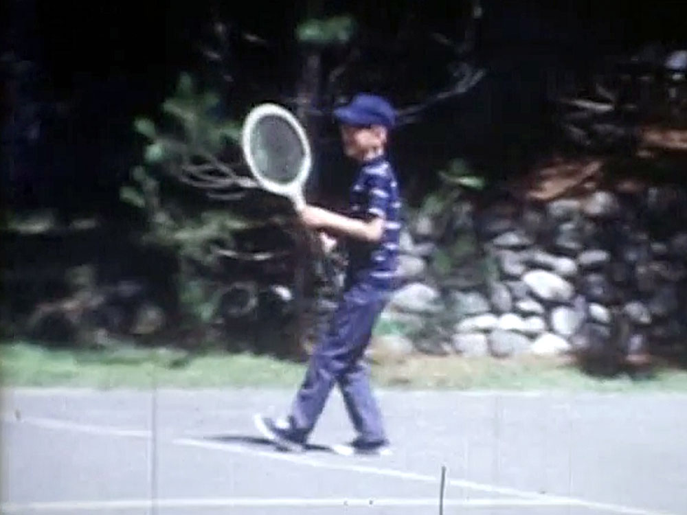 A young Mark Czerniec plays tennis at  Froelich's Sayner Lodge