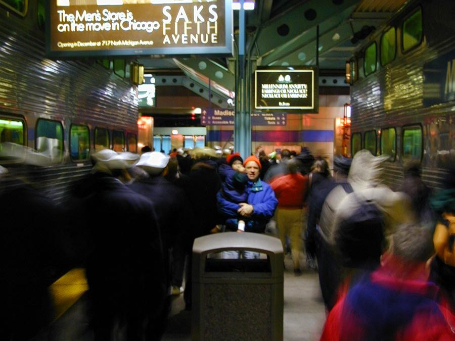 Chicago Metra Rail station: Passengers exit trains at Ogilvie Transportation Center