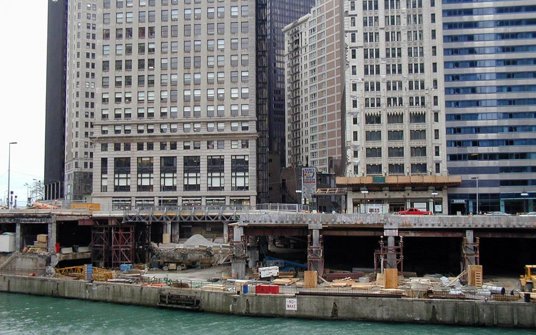 Construction work on Lower Wacker Drive, Chicago, Illinois