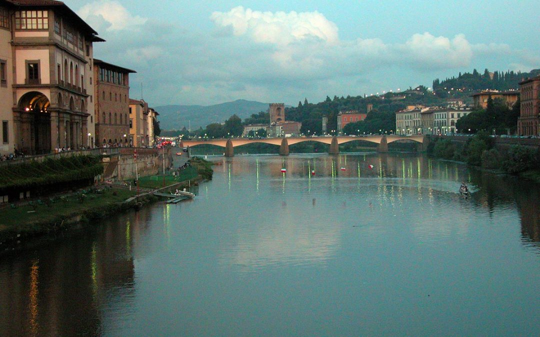 Arno River viewed from Ponte Vecchio, Florence, Italy