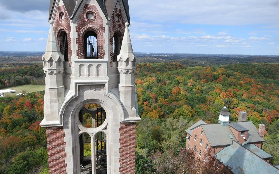Holy Hill Scenic Tower view: landscape of fall colors around Hubertus, Wisconsin
